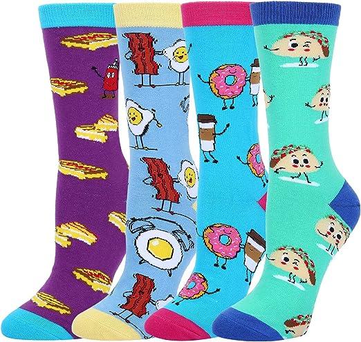 4 Pack Novelty Funny Socks Sz 9-11 Halloween Spooky Fun Socks for Women Gift