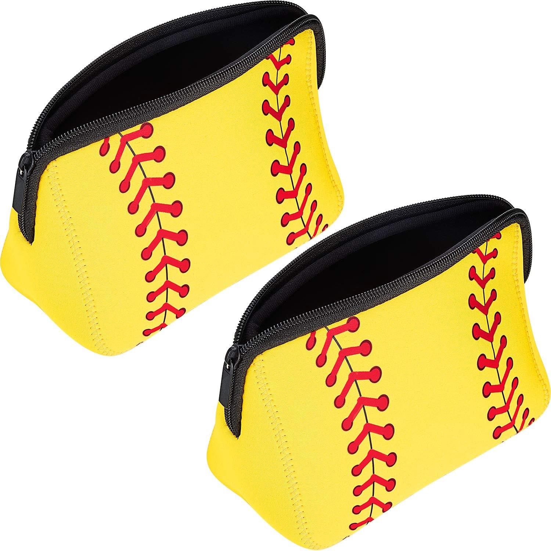 2 Pieces Softball Bag softball Print Makeup Bag Baseball Travel Cosmetic Pouch Bag Waterproof Neoprene Bag with Zipper (Yellow, 10.24 x 5.12 x 3.7 Inch)
