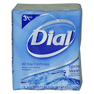 Dial Antibacterial Soap Bars, Spring Water, 4 oz bars, 3 ea
