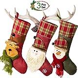 3 x Calcetin de Decoraciones de Navidad Santa Claus, Muñeco de Nieve, Medias de Decoración de Navidad,Bolasa de Caramelo y Regalo