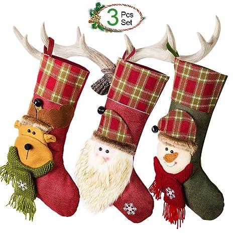 3 x Calcetin de Decoraciones de Navidad Santa Claus, Muñeco de Nieve, Medias de