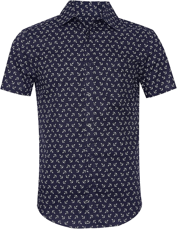 SOOPO Camisa Hombre Shirt de Manga Corta Estampados de Ancla