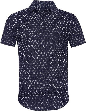 SOOPO Camisa Hombre Shirt de Manga Corta Estampados de Ancla de Barcos de Colores para Hombre, Camiseta Bonita y Cómoda para Verano, Diversos Colores y Tallas: Amazon.es: Ropa y accesorios
