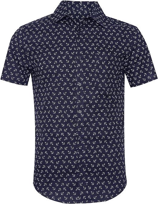 SOOPO Camisa Hombre Shirt de Manga Corta Estampados de Ancla de ...