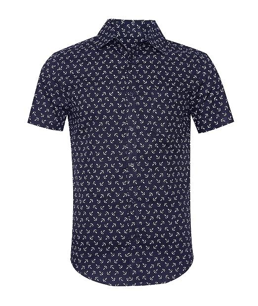 SOOPO Camisa Hombre Shirt Azul Oscuro de Manga Corta Estampados de Ancla de Barcos de Colores
