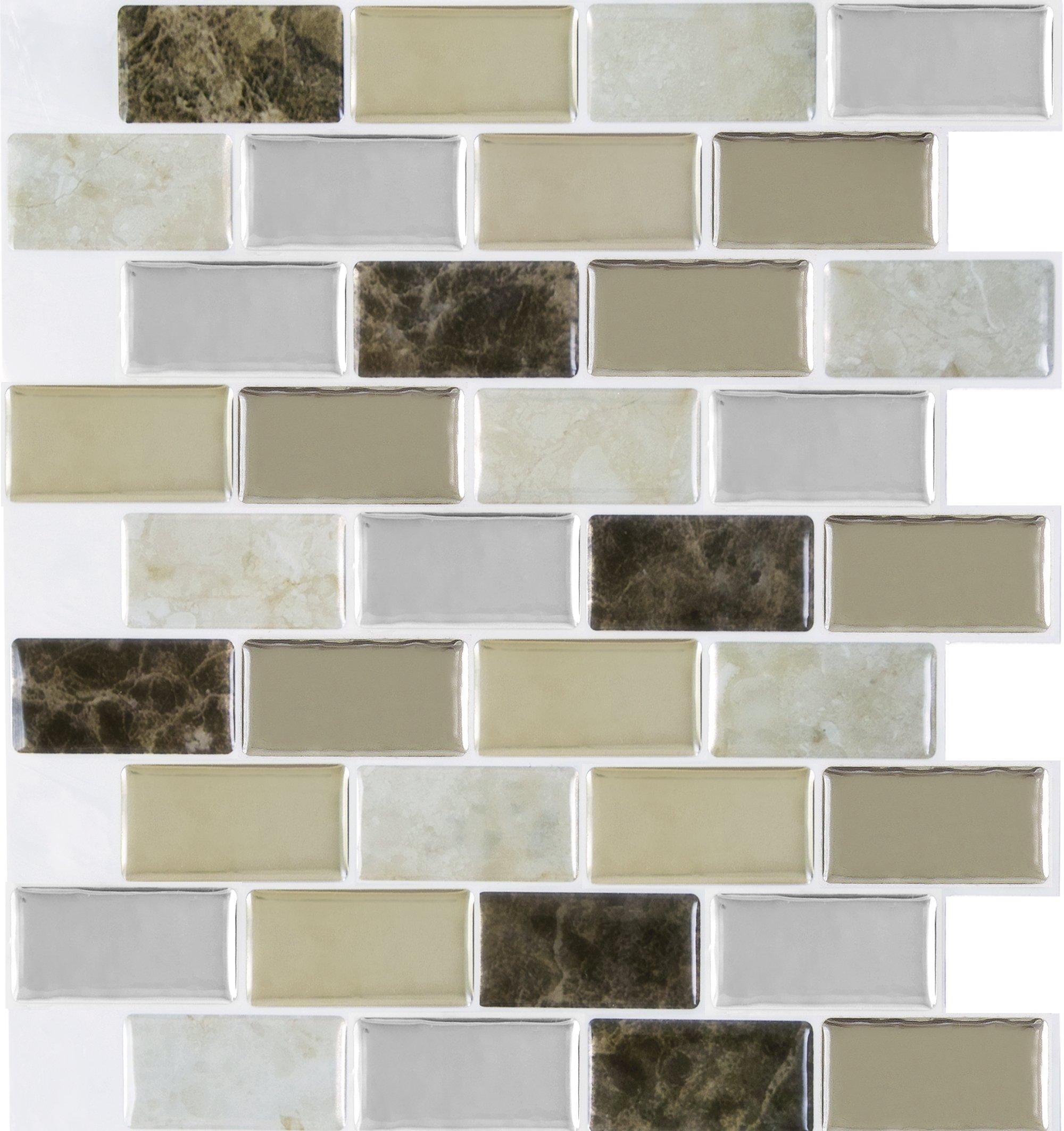 Achim Home Furnishings MGTBRZGR03 Magic Gel Bronze Granite 9.125 inch x 9.125 inch Self Adhesive Vinyl Wall Tile, 3 Tiles/2.25 sq Ft. by Achim Home Furnishings