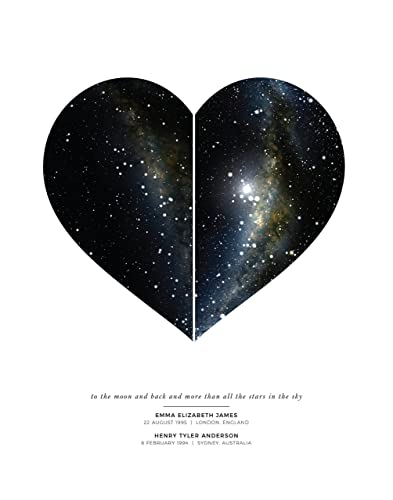 Star Map Art.Amazon Com Personalized Heart Map Wedding Gift Night Sky Unframed