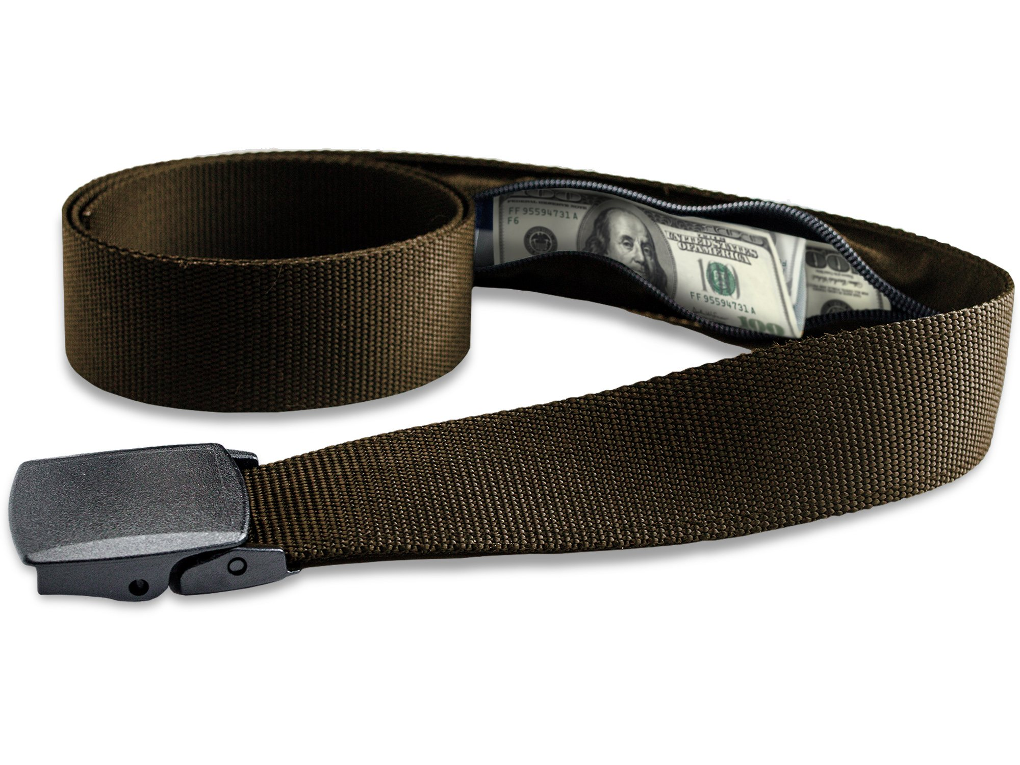 Travel Security Belt with Hidden Money Pocket Brown - Cashsafe Anti-Theft Wallet - Non-Metal Buckle by RoomierLife
