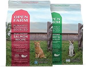 Open Farm Grain-Free Wild-Caught Salmon & Homestead Turkey & Chicken Dry Cat Food Bundle, 4 lbs