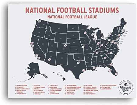 Mapa de viaje de la NFL con mapas de aventuras de Epic, marca tus ...
