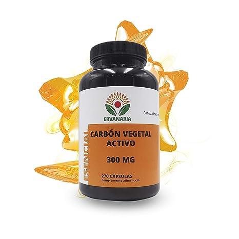 Ervanaria Carbón Vegetal Activado 300 Mg 270 Capsulas, mejora tu digestión, contra la acidez
