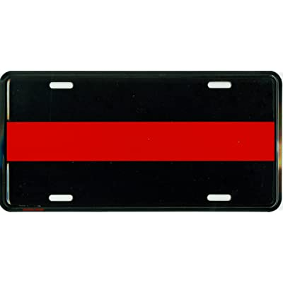 Thin Red Line Metal License Plate – 6x12 inch Black and Red America Auto Tag for Cars and Trucks – Recognize and Support The Courage of Firefighters, Fireman: Automotive