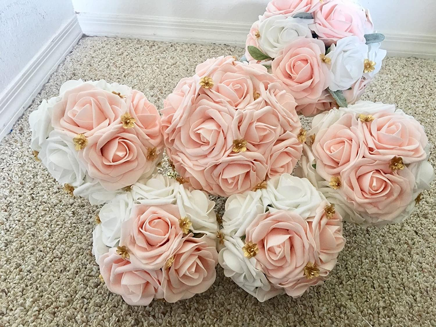 Berry Pink DerBlue 60pcs Artificial Roses Flowers Real Looking Fake Roses Artificial Foam Roses Decoration DIY for Wedding Bouquets Centerpieces,Arrangements Party Baby Shower Home Decorations