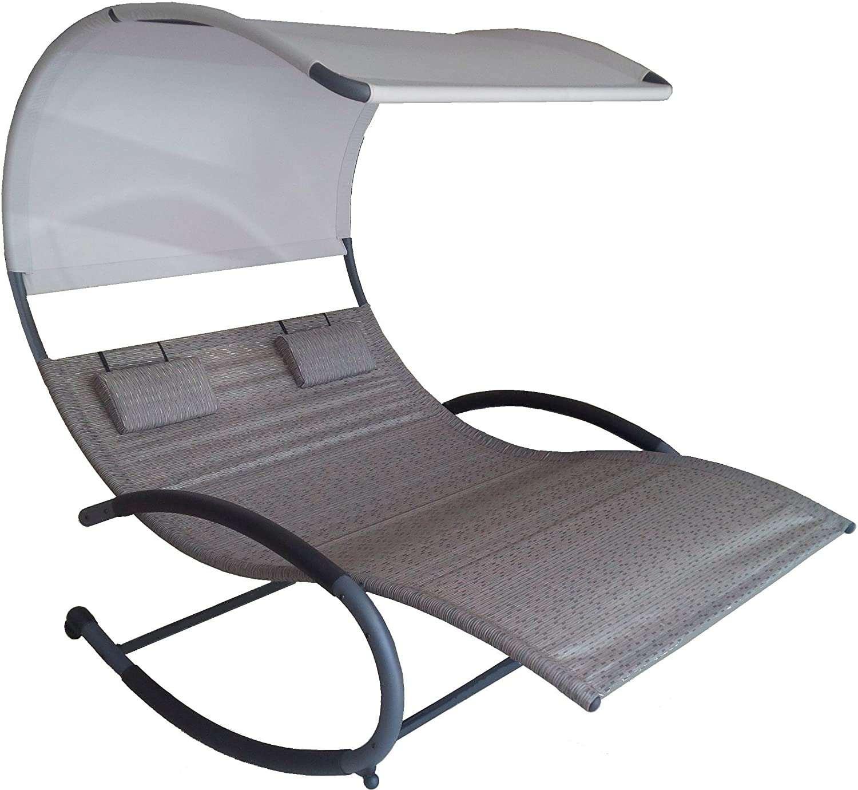 Amazon Com Vivere Chaiserk2 Sa Double Chaise Rocking Chair Sienna Garden Outdoor