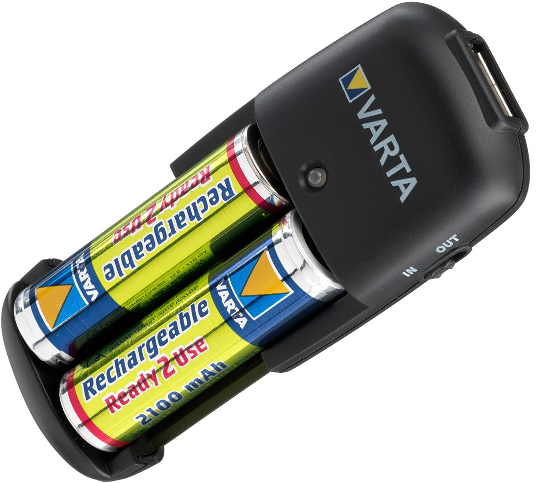 Varta Easy Energy - Cargador con USB y 2 pilas AA (2100 mAh ...