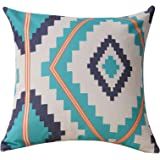 BreezyLife Aztec Throw Pillow Covers Ethnic Decorative Pillow Cases with Soft Linen Burlap 18x18 Inches Square Cushion Cases for Home Decor
