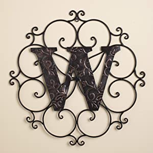 The Lakeside Collection Monogram Wall Hanging Decoration with Distressed Scrollwork Finish - W