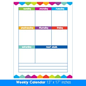 """Best EXTRA LARGE 13"""" x 17"""" Dry Erase or Wet Erase Laminated Weekly Magnetic Dry Erase Calendar Planner & Organizer- Perfect for Refrigerators Keep Track of Kids Chores, Tasks, To Do's Events and More!"""