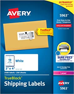 Avery 2x4 Labels for Laser Printers, Permanent Adhesive, Sure Feed, 2,500 Rectangle Labels (5963), White