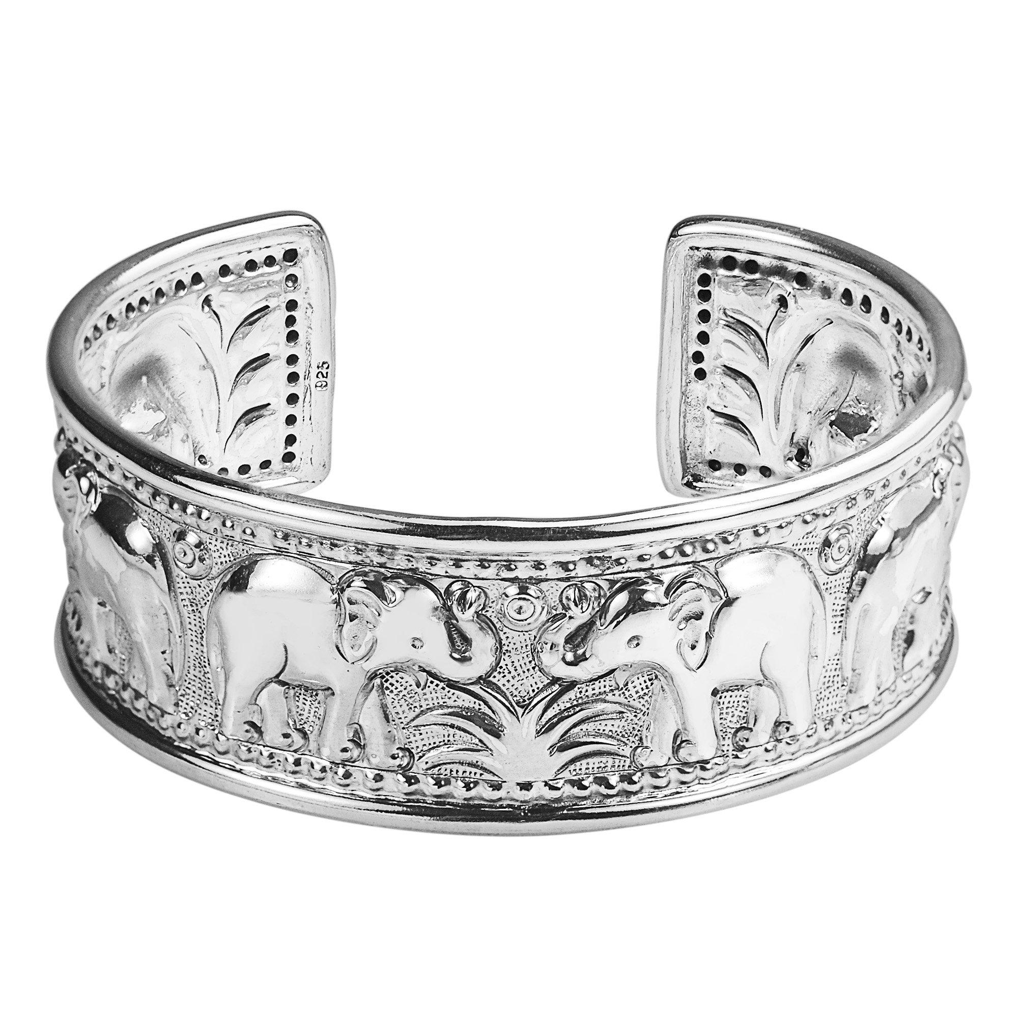 Elephant Jungle Trek Thai Yao Hill Tribe Fine Silver Adjustable Cuff Bracelet by AeraVida (Image #1)