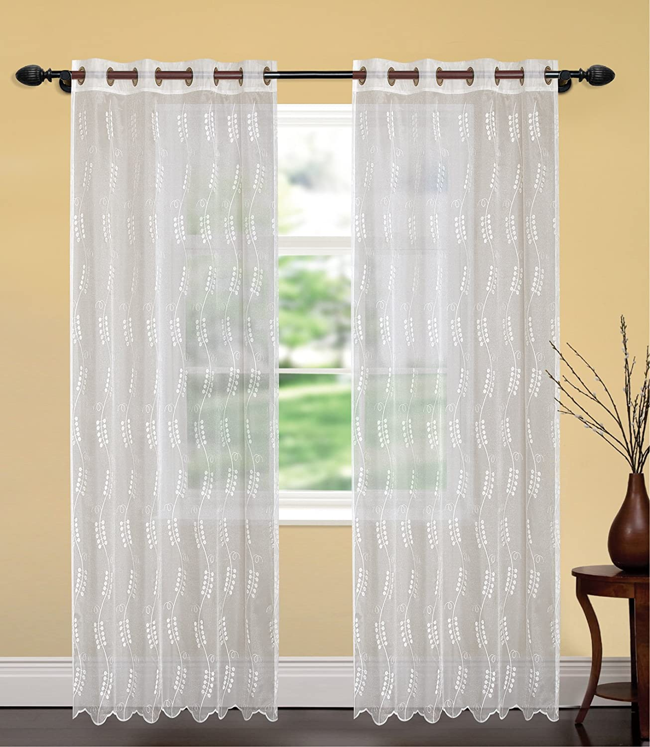 United Linens- 1 piece Embroidery window curtains jamine 52x84 white White Window treatments for kitchen and drapes for living room and bedroom panels grommet