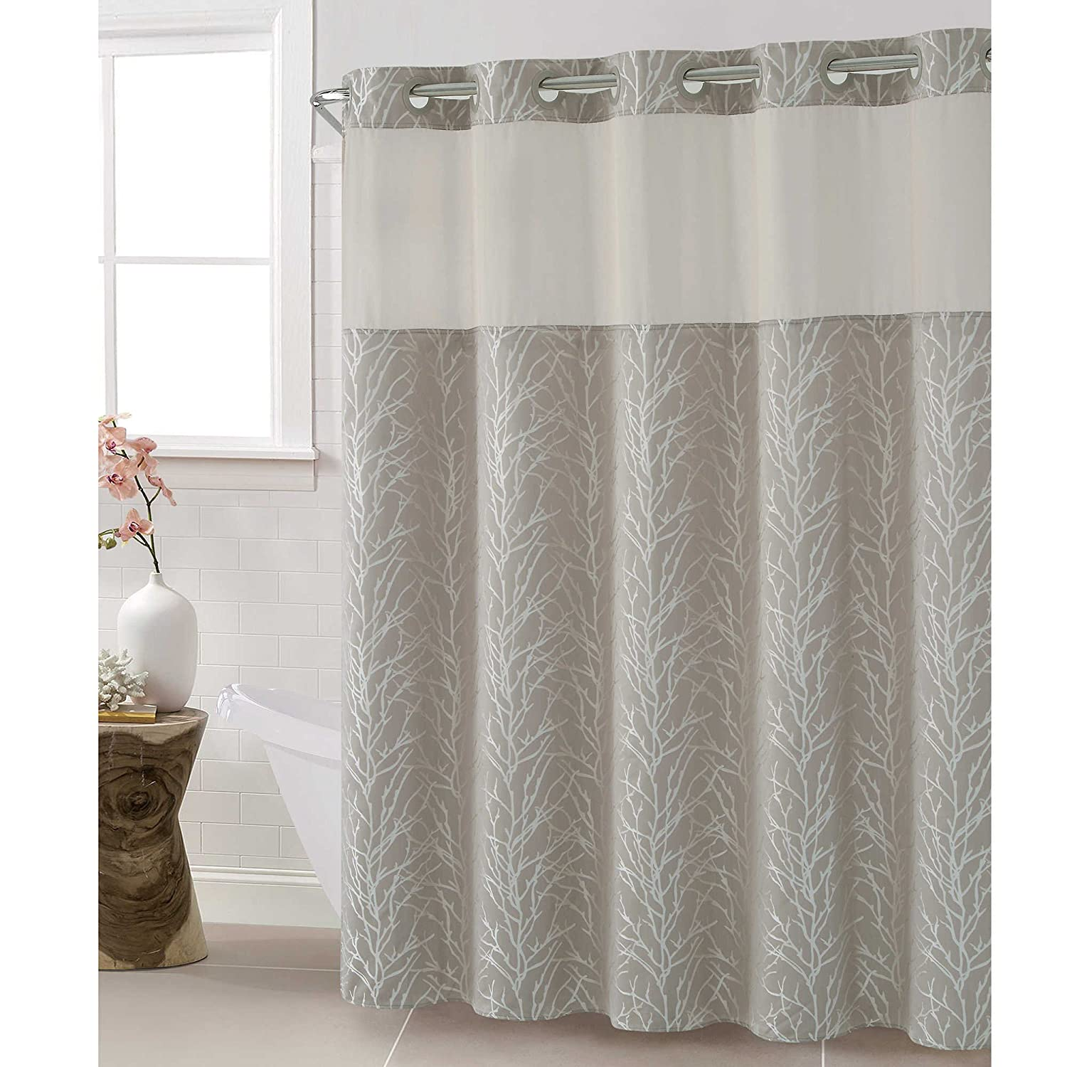 Amazon Hookless Jacquard Tree Branch 71 Inch X 86 Shower Curtain In Taupe Home Kitchen