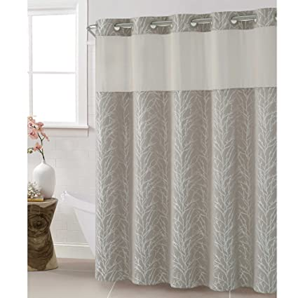 Hookless Jacquard Tree Branch 71 Inch X 86 Shower Curtain In Taupe