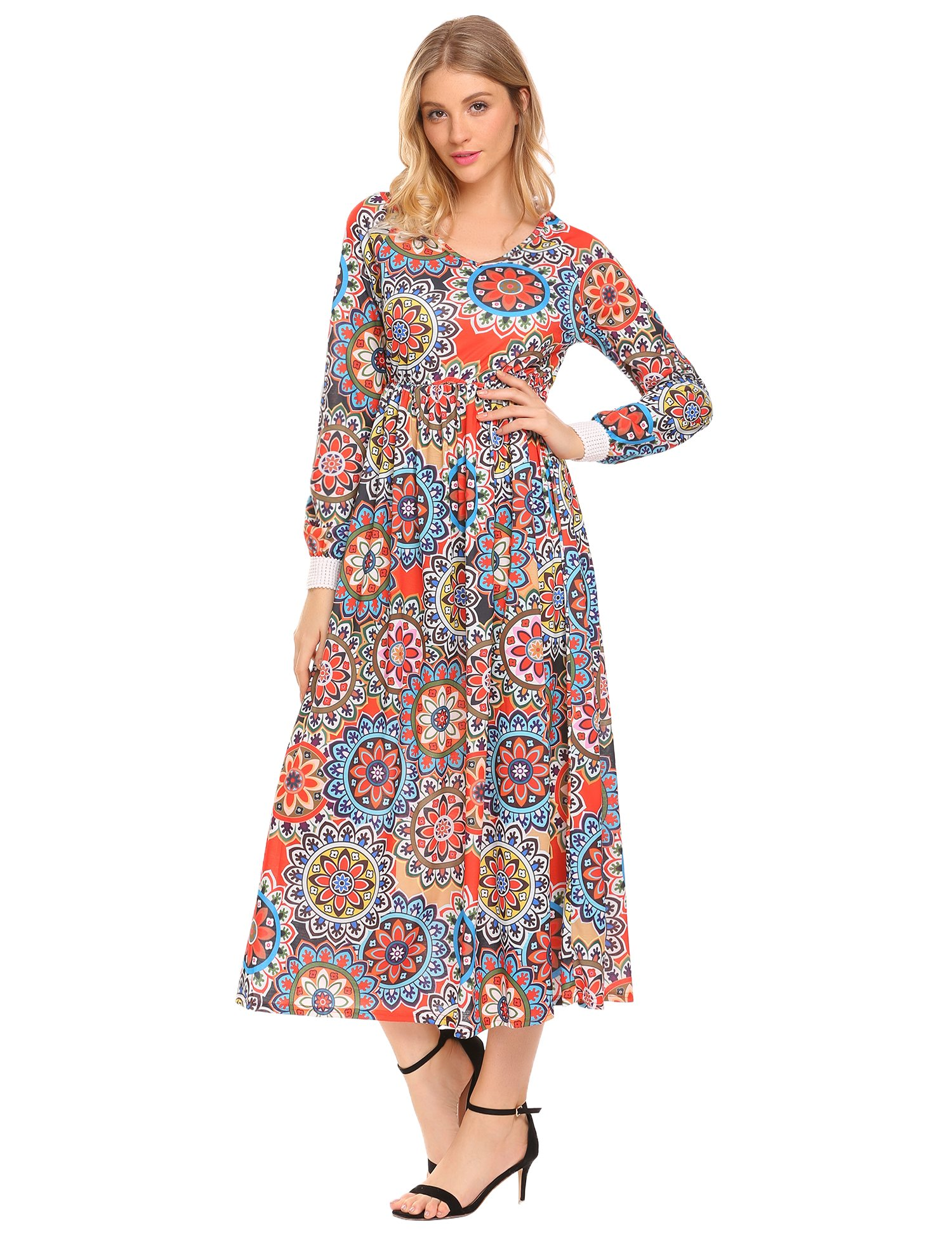 Zeagoo Women's Floral Print Long Sleeve Party Beach Long Maxi Dress
