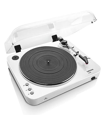Lenco L-85 - Tocadiscos (Tocadiscos de tracción por Correa, Semiautomático, Blanco, 33,45 RPM, MP3)