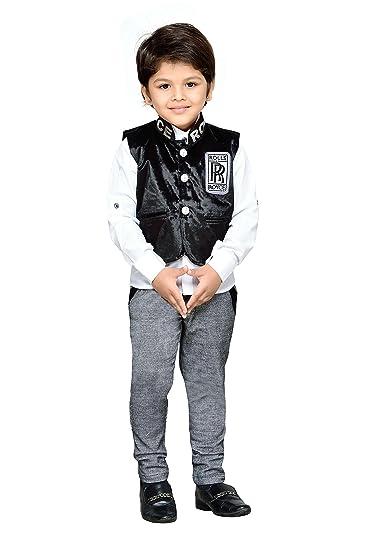 9969828723 AJ Dezines kids party wear waistcoat suit set for boys (782_BLACK_1)