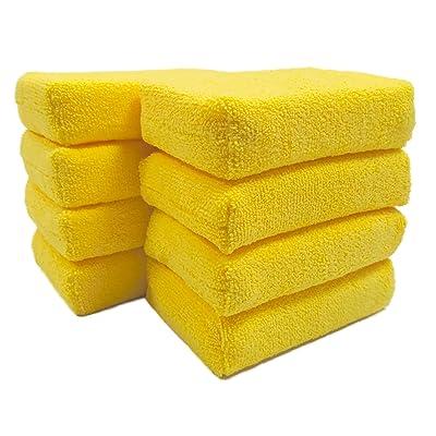 Polyte Microfiber Detailing Wax Applicator Foam Sponge (Yellow, 8 Pack, 6x4x1.5): Automotive