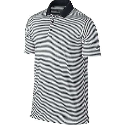 a9229b6c NIKE Men's Dry Victory Stripe Polo, Black/White/White, Small. Roll over  image to ...