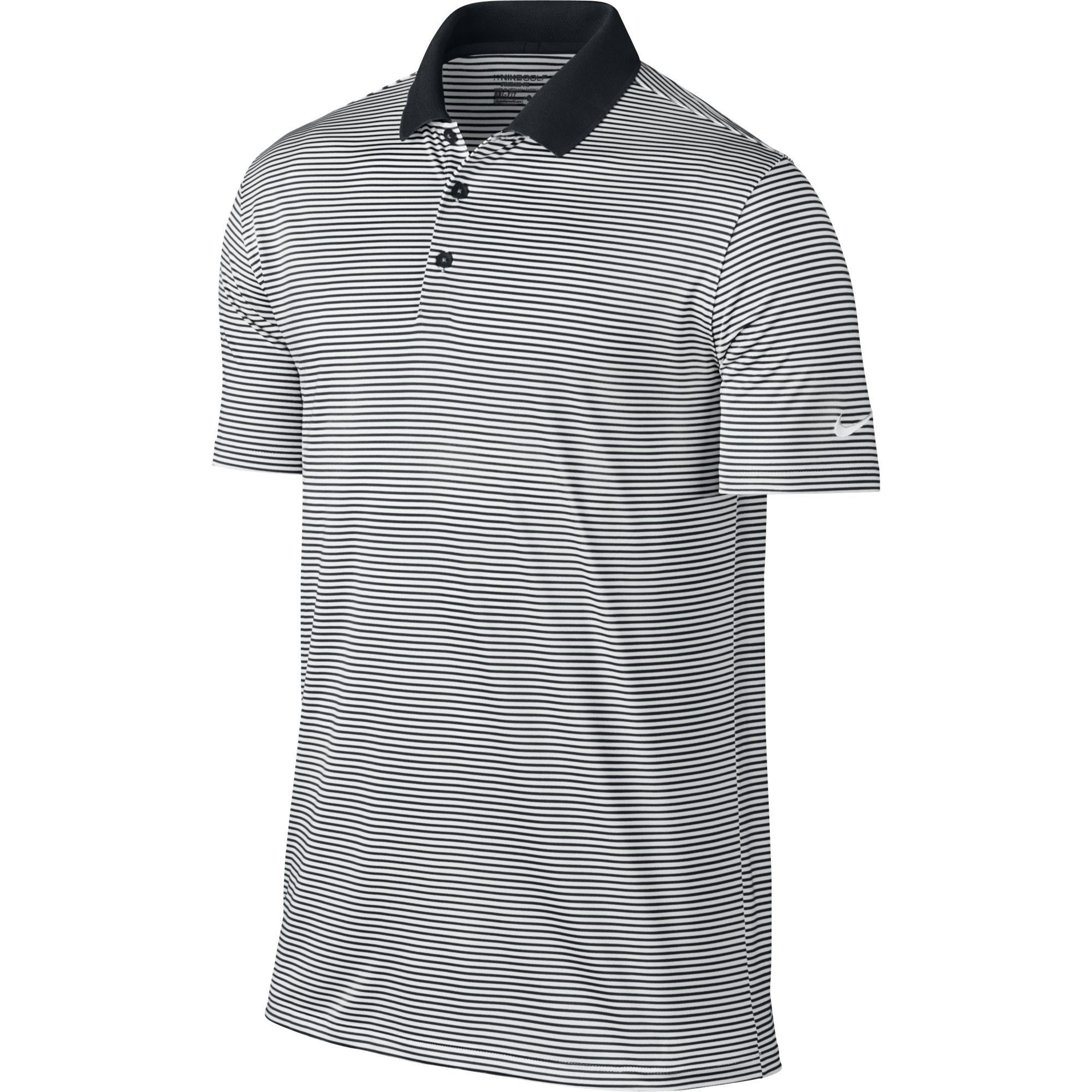 NIKE Men's Dry Victory Stripe Polo, Black/White/White, Small