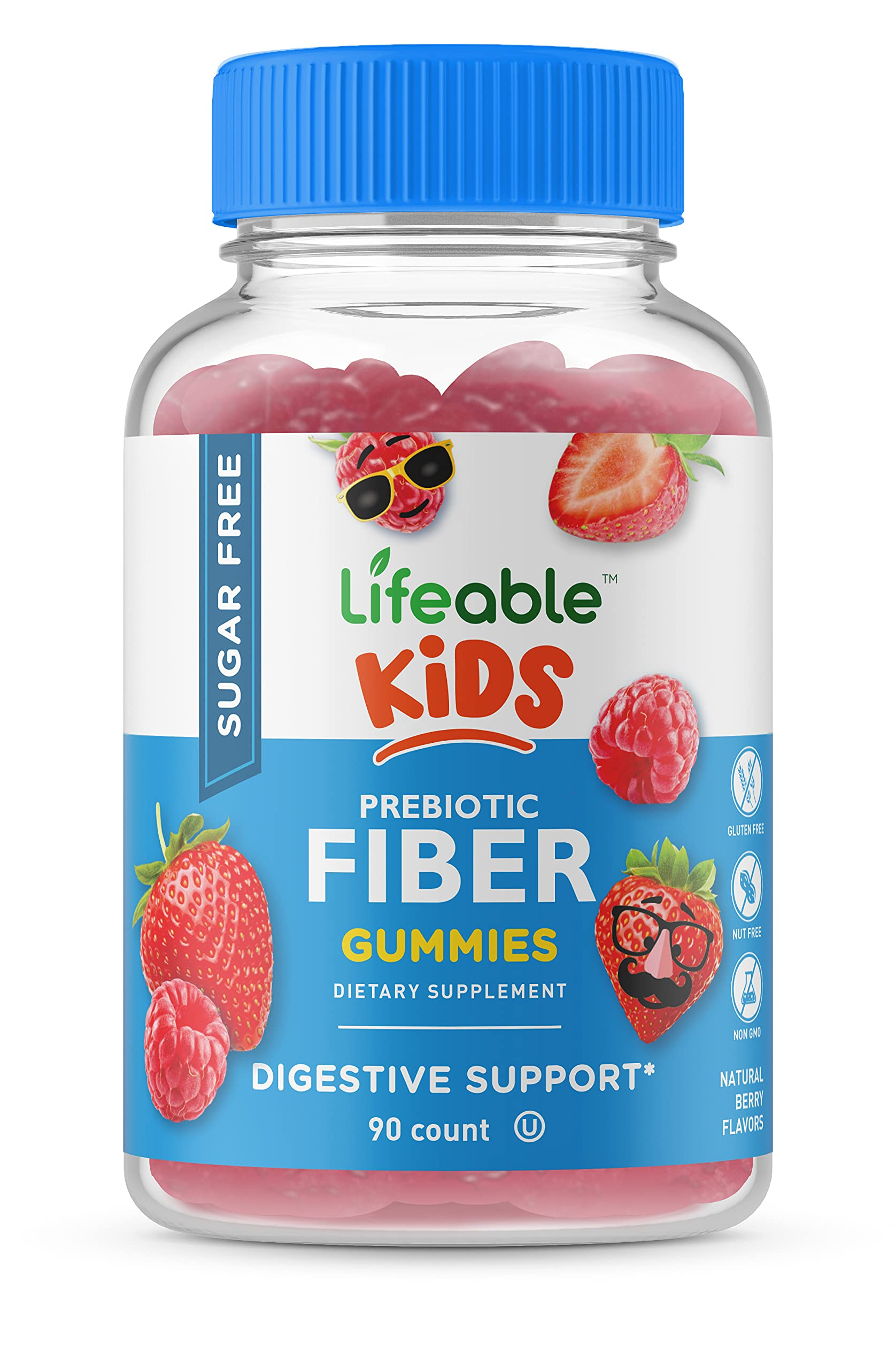 Lifeable Sugar Free Prebiotic Fiber for Kids – 4g – Great Tasting Natural Flavored Gummy – Gluten Free, Vegetarian, GMO Free Chewable – 90 Gummies – 45 Doses