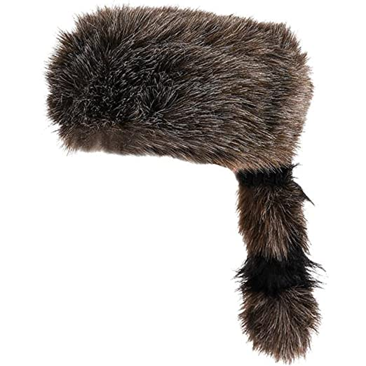 2a100222b7c Amazon.com  Faux Racoon Tail Hat - Coonskin Daniel Boone Hats Funny Party  Hats  Clothing
