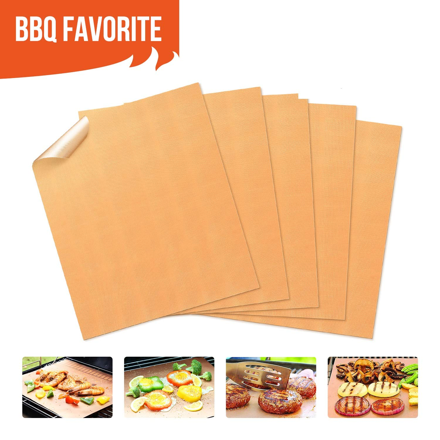 Copper Grill Mats Non-Stick BBQ Grill Mat Bake Mat Set of 5 Barbecue Grilling & Baking, FDA-Approved, Heavy Duty 1.94 oz/Sheet, Reusable & Easy to Clean-Suits Gas,Charcoal,Electric Grill More