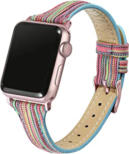 Secbolt Slim Woven Bands Compatible with Apple Watch Band 38mm 40mm, Classy Canvas Strap with Soft Leather Lining for iWatch SE Series 6/5/4/3/2/1, Rainbow with Rose Gold Connector