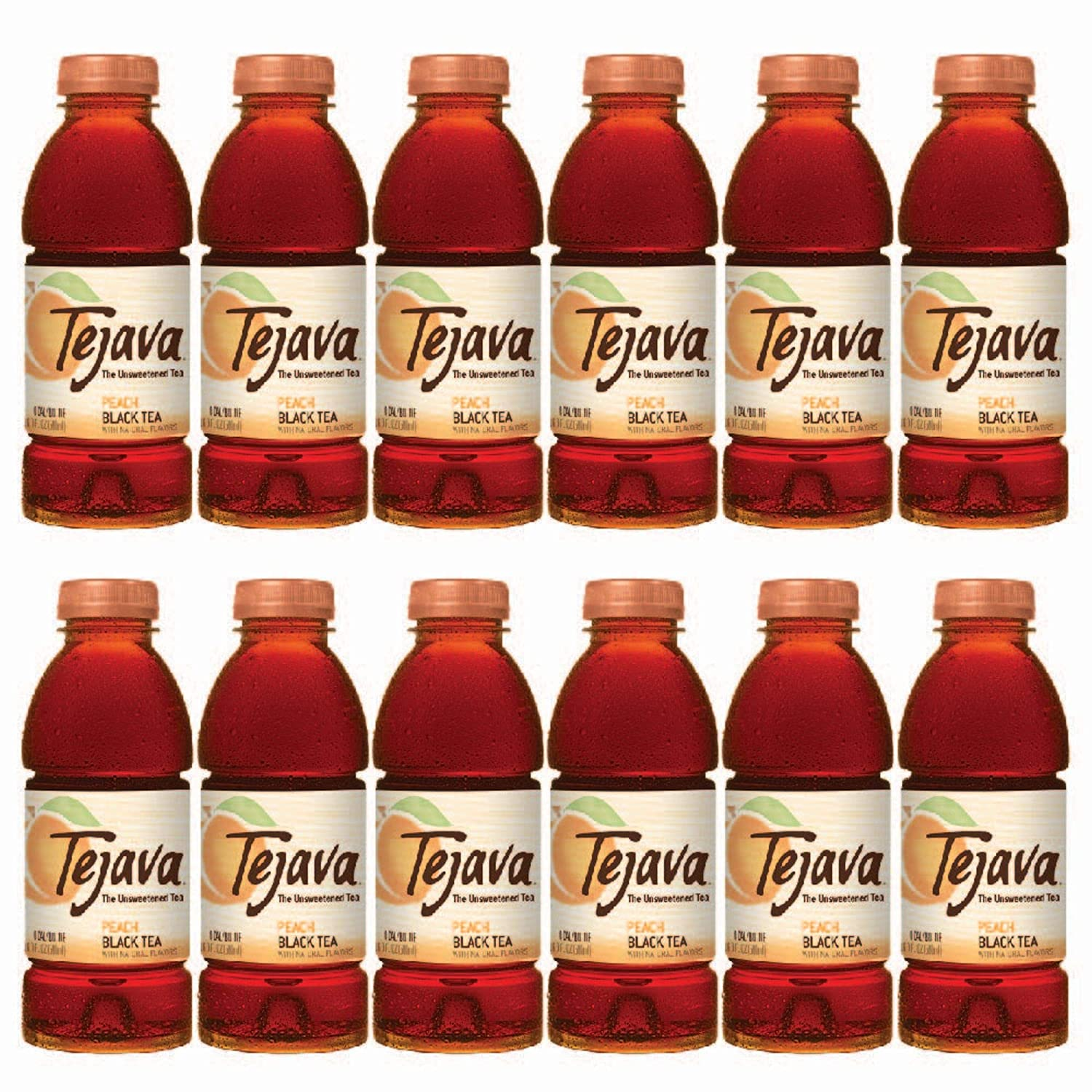 Tejava Unsweetened Peach Iced Tea, 16.9 Ounce PET Bottles, Natural, Non-GMO-Verified, Rainforest Alliance-Certified (12 Pack)
