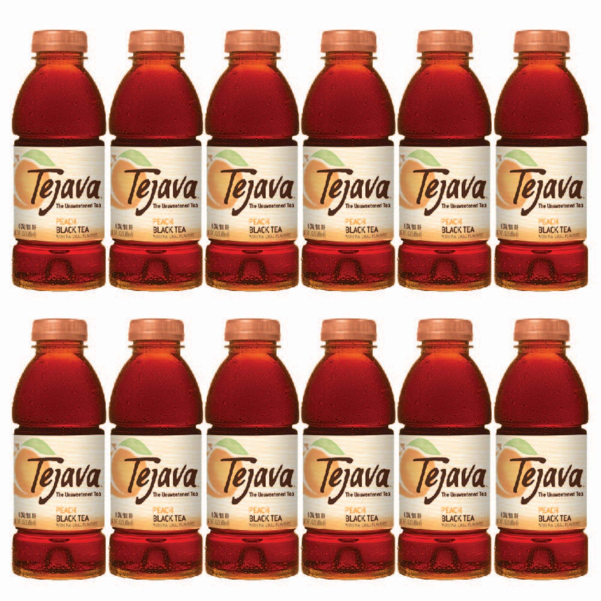 Tejava Unsweetened Iced Tea, Peach, 16.9oz PET Bottles, Award Winning, Non-GMO-Verified, from Rainforest Alliance-Certified farms (12 Pack)