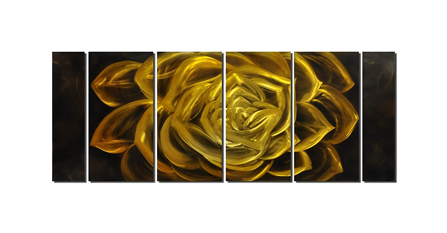 Amazon.com: Winpeak Art Original Handcraft Gold Abstract Flower ...