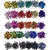Hestya 30 Colors Loose Sequins Cup Sequin Crafts Iridescent Spangles for DIY Making, 6 mm, 150 Gram