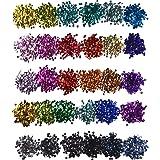 30 Colores de Lentejuelas Sueltas Lentejuelas de Artesanías Lentejuelas Iridiscentes para Manualidades, 6 mm, 150 Gramos