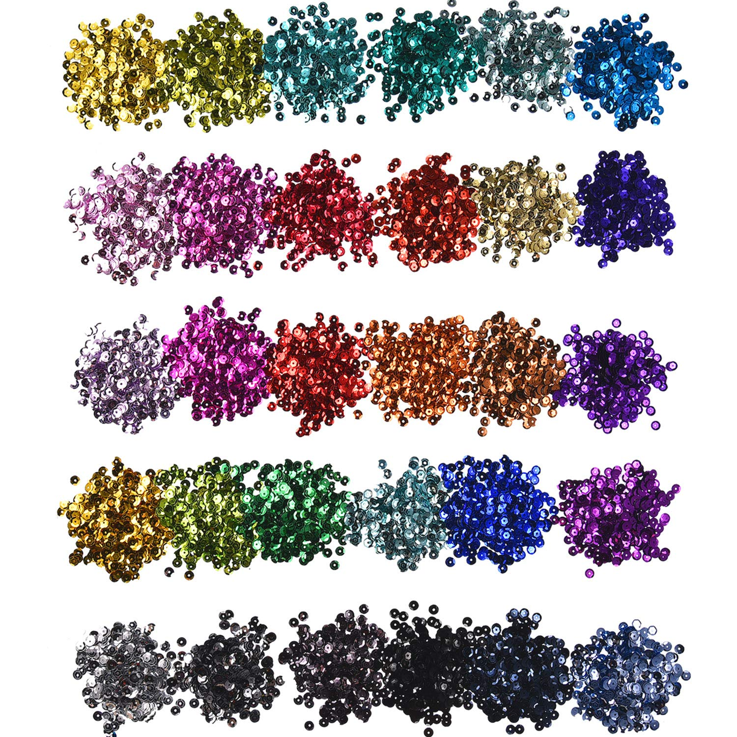 Hestya 30 Colors Loose Sequins Cup Sequin Crafts Iridescent Spangles for DIY Making, 6 mm, 150 Gram 4337033478