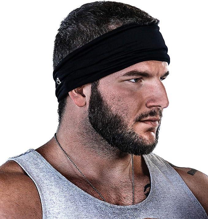 Black Cross Training Mens Sweatband /& Sports Headband Moisture Wicking Workout Sweatbands for Running Yoga and Bike Helmet Friendly Hunzed Headbands for Men and Women