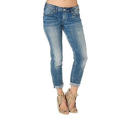 Silver Women's Boyfriend Jeans Denim 24 at Amazon Women's Jeans store