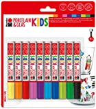 Marabu 125000000084 - Porcelain und Glas Kids, Mega Fun 10er, Universalspitze 1-3 mm, sortierung