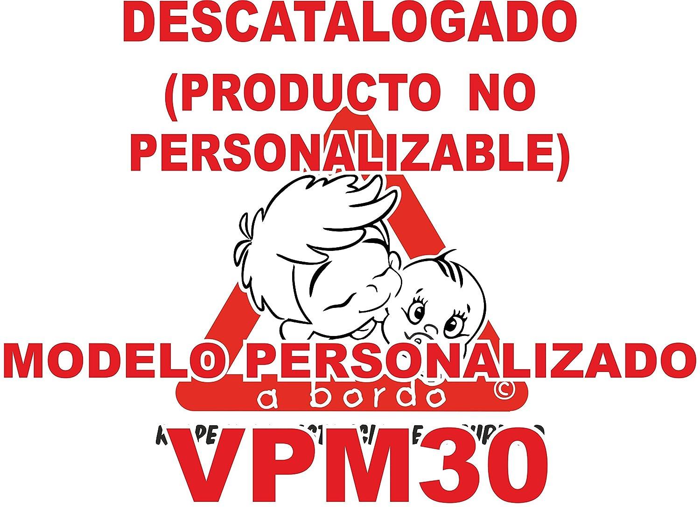 Adhesivo personalizado Bebé a bordo VPC30-2C. DISEÑO EXCLUSIVO. VENDIDO Y ENVIADO POR VPM ORIGINAL. PRODUCTO Y EMPRESA 100% DE ESPAÑA. NO COMPRAR AL VENDEDOR  ifx3wifx3w, son copias ilegales.