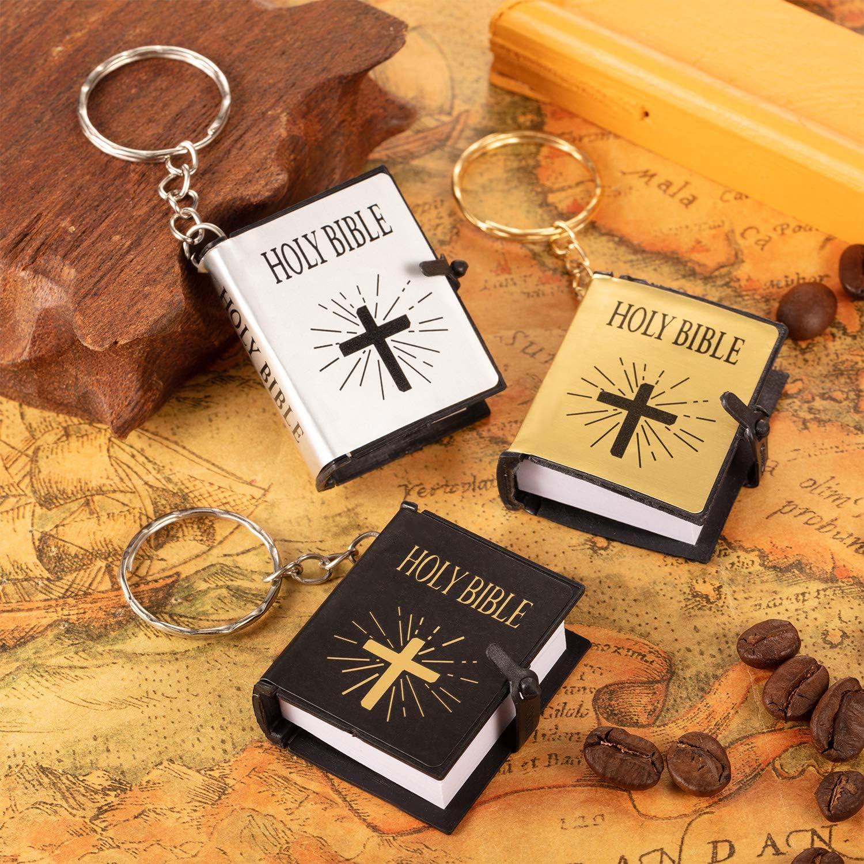 18 Pieces Mini Book Keychain Miniature Book Keyring for Church Souvenir Gifts
