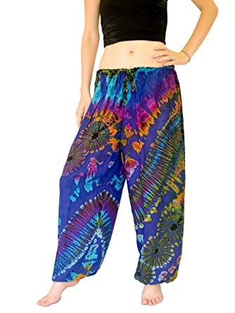 c478279bfef Orient Trail Women s Hippie Bohemian Yoga Pajama Tie-dye Hippie Pants M L  Ocean Blue at Amazon Women s Clothing store