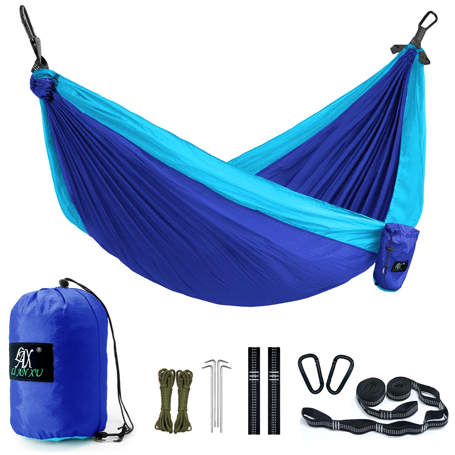 Camping Hammock, LAX Portable Double Durable Hammock for Backpacking, Travel, Hiking, Beach, Yard, Multi-Functional Lightweight Nylon Parachute Hammocks with Heavy Duty Straps (Blue/Sky Blue) by LAX LI AN XU